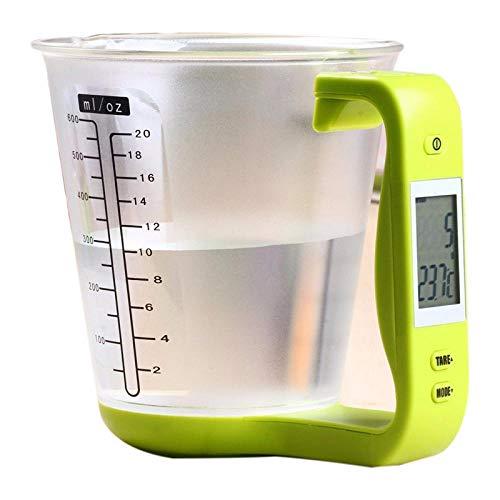 Professionele Maatbeker Keukenweegschaal Digitale Beker Weegschaal Elektronische Gereedschapsschaal Met Lcd-scherm Temperatuur Groen & Transpa