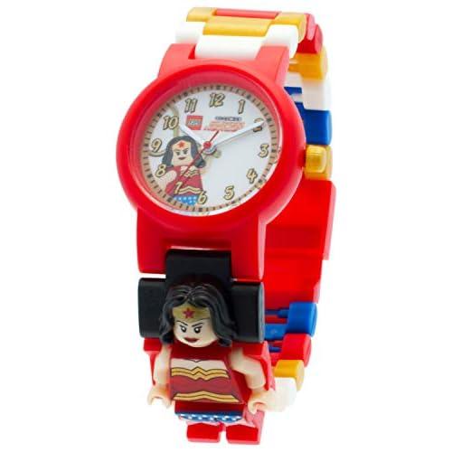 LEGO DC Comics Super Heroes 8020271 Orologio da polso componibile per bambini con cinturino a maglie e minifigure Wonder Woman| per i bambini | rosso/giallo | ragazzo/ragazza | Diametro di 25 cm | Quarzo analogico| ufficiale