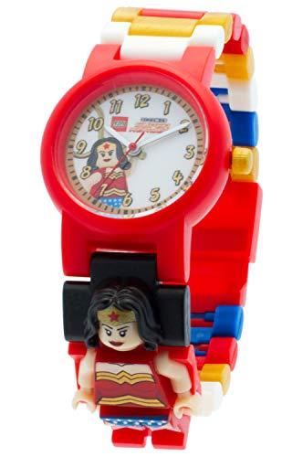Reloj infantil modificable de LEGO DC Comics. Emblemática figurita de LEGO Wonder Woman en la pulsera