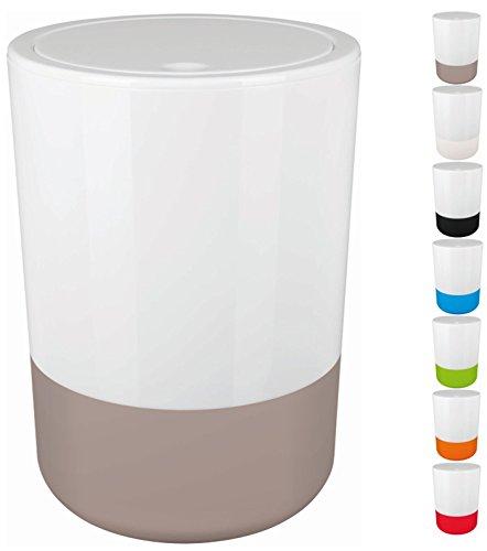 Spirella Design Kosmetikeimer Moji Bad Treteimer Schwingdeckeleimer Abfallbehälter mit Schwingdeckel 5 Liter mit Silikonboden Weiß/Taupe