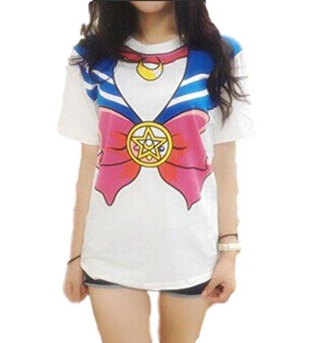 GK-O Japanese Anime Sailor Moon Style T-Shirt Harajuku Kawaii Cosplay Costume (Medium, Blue)