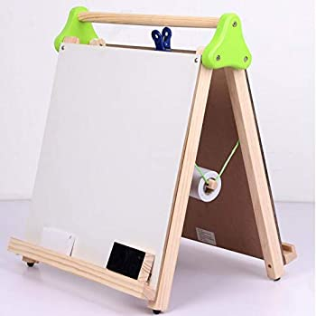 Damikan's Tabletop Easel for Kids 3-in-1 Dry Erase Chalkboard Painting Art Easel Includes Paper Roll and Paper Clip Perfect for Children 3+ | Foldable/Portable for Countertop Play