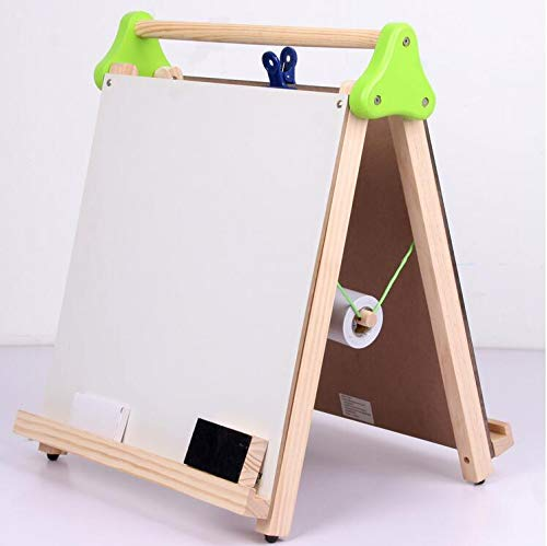 Damikan's 3-in-1 Tabletop Dry Erase Chalkboard Painting Art Easel, Includes Paper Roll and Paper Clip, Perfect for Children 3+ | Foldable/Portable for Countertop Play