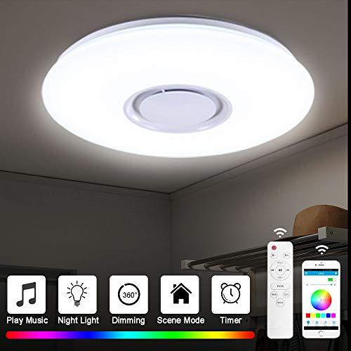 Plafonnier LED Lampes De Plafond 60w Avec Hautparleur Bluetooth Télécommande APP Lampe Musicale, Couleur Luminosité Réglable