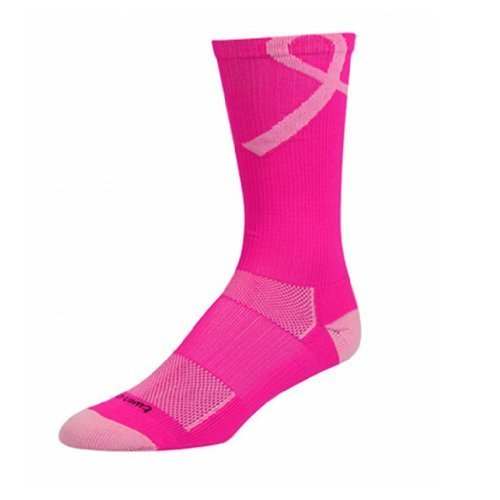 TCK Pink Ribbon–Awareness Crew Socks (Neon Pink/Pale Pink, Small) by Sports–
