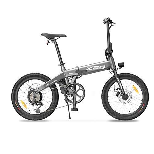 HIMO Bicicleta eléctrica Plegable Z20 con Sistema de transmisión de 6 velocidades, LCD Impermeable IPX7, Control de Vector Inteligente, Frenos de Disco Doble (Gris)