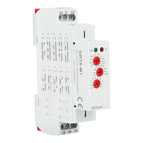 Interruptor temporizador de retardo de relé de tiempo de retardo multifuncional GRT8-M1 con 10 funciones Montaje en riel DIN AC/DC 12V ~ 240V para control industrial