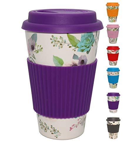 Sevani Ecowelt, Bambusbecher/Coffee-to-Go-Becher/Kaffeebecher, 450 ml nachfüllbarer Trinkbecher mit Silikondeckel, natürlich und umweltfreundlich, lebensmittelecht, spülmaschinenfest