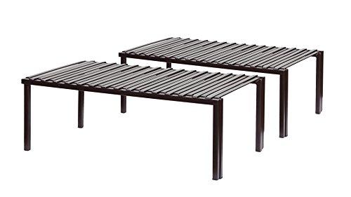 STORAGE MANIAC 2-Pack Expandable Kitchen Counter & Cabinet Shelf Organizer, Bronze