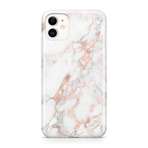 uCOLOR Case Compatible with iPhone 11 6.1 inch Protective Case Rose Gold White Marble Slim Soft TPU Silicone Shockproof Cover Compatible iPhone 11 6.1 inch 2019 Release