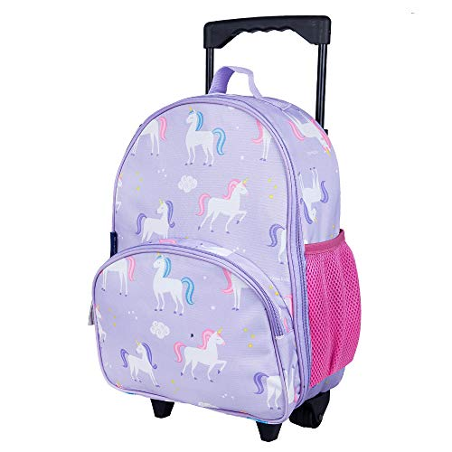 Wildkin Kids Rolling Luggage for Boys and Girls, Carry on Luggage Size is Perfect for School and Overnight Travel, Measures 16 x 12 x 6 Inches, BPA-free, Olive Kids (Unicorn)