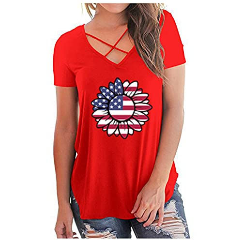 Independence Day - Chaleco de verano de manga corta para mujer, con estampado de girasoles, sin mangas, cuello redondo, informal, de manga corta con divertidas camisetas gráficas