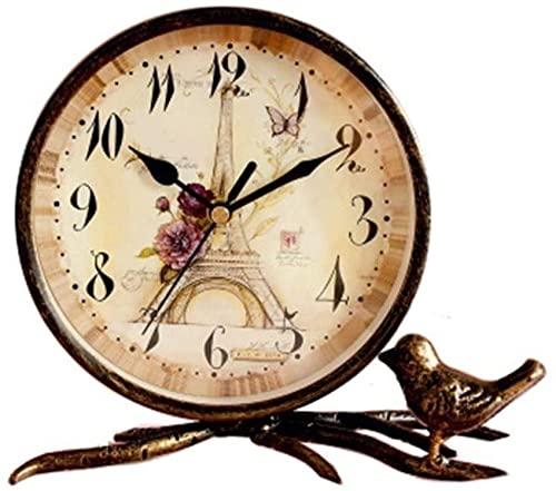 JYHZ Reloj despertador,Reloj de escritorio retro de hierro forjado,Librería sala de estar Porche Decoración Reloj,Ultra-silencioso dormitorio retro despertador,Reloj