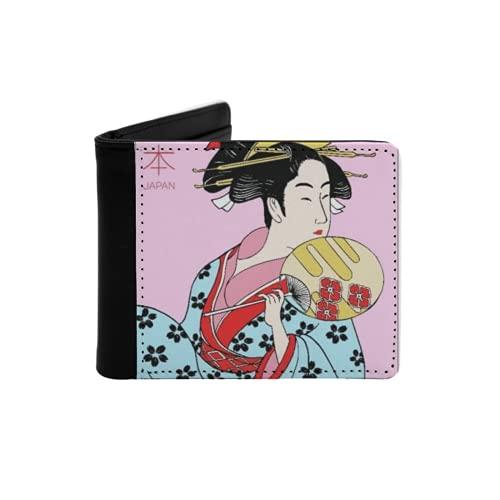 Cartera Delgada de Cuero para Hombre,Mujer vistiendo Ropas Tradicionales japonesas Traje de Geisha patrón de Flores,Cartera Minimalista con Bolsillo Frontal Plegable