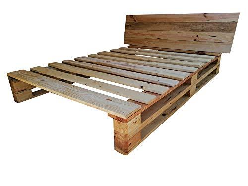 Cama de palets color madera Barnizada para colchón de 135 x