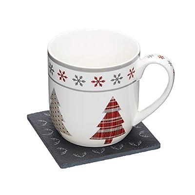 Kitchencraft WE Love Ensemble cadeau mug de Noël et ardoise Sous-Verre–Motif sapin de Noël, Multicolore