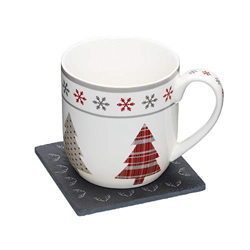 """Kitchencraft """"we Love de Navidad"""" diseño de reno novedad taza y Slate posavasos Set de regalo, multicolor"""
