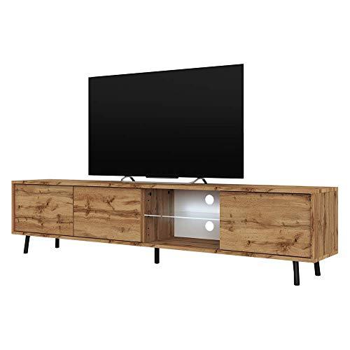 Selsey Galhad – TV-Lowboard Wotan Eiche Matt mit weißer LED-Beleuchtung 175 cm breit