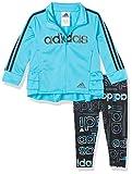 adidas Baby Girls' Li'l Sport Jacket & Leggings Active Clothing Set, Hyperreal Signal Cyan, 12 Months