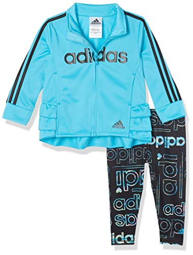 adidas Baby Girls' Li'l Sport Jacket & Leggings Active Clothing Set, Hyperreal Signal Cyan, 24 Months