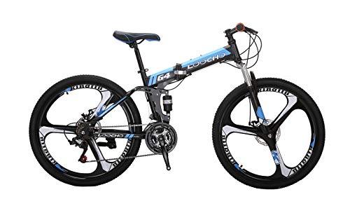 Buy LOOCHO 21 Speed Foldable Mountain Bike 26 Inches 3-Spoke Wheel Dual Suspension Dual Disc Brake M...