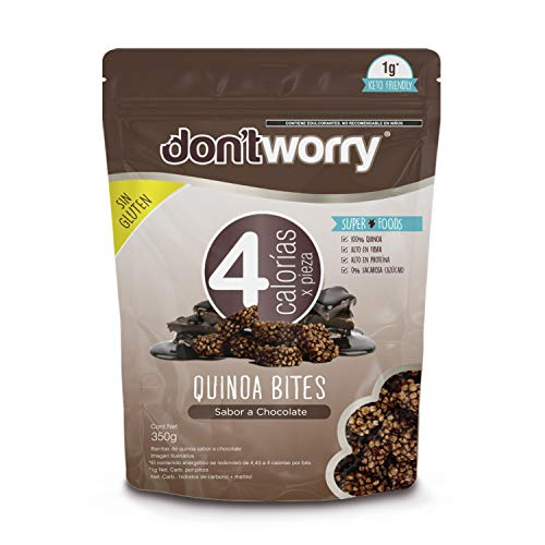 DON'T WORRY SNACKS SALUDABLES | Quinoa Bites 350g, con solo 4 Calorías Sabor Chocolate | Botanas Gluten Free, Altos en Fibra y Proteína | Keto Snacks | POCAS CALORÍAS y MÁXIMO SABOR!