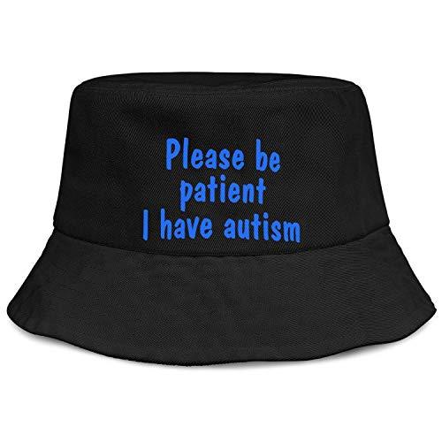 lsawdas Blue Please Be Patient I Have Autism Hat Unisex Print Bucket Hat Sun Hat Black
