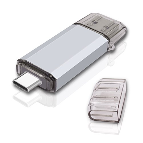 RAOYI 128GB USB 3.0 Type C Dual OTG Flash Drive USB C Thumb Drive Memory Stick for USB-C Smartphones, New MacBook & Tablets,Samsung Galaxy S8, S8 Plus, Note 8, LG G6, V30, Google Pixel XL, Silver