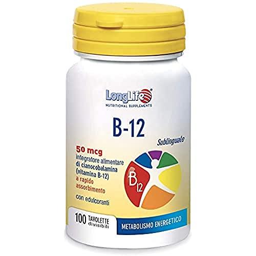 B-12 50 mcg LongLife | Integratore di vitamina B12 sublinguale | Aroma Ciliegia | Assimilazione più rapida | 100 tav. divisibili | Doping Free, Gluten Free, Vegan