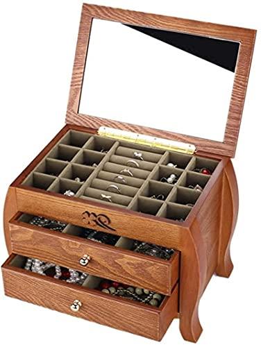 Caja de joyería de madera caja de joyería caja de almacenamiento pulsera caja de recolección caja de viaje con espejo