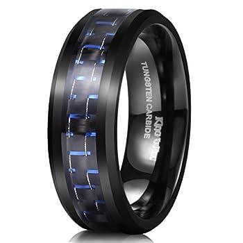King Will GENTLEMAN Mens 8mm Tungsten Ring Black and Blue Carbon Fiber Inlay High Polish Wedding Band Ring 9