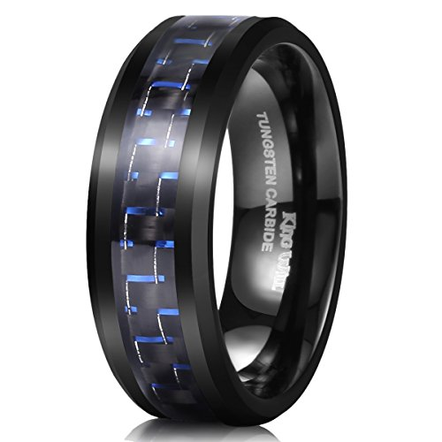 King Will Gentleman Mens 8mm Tungsten Ring Black and Blue Carbon Fiber Inlay High Polish Wedding Band Ring 8.5