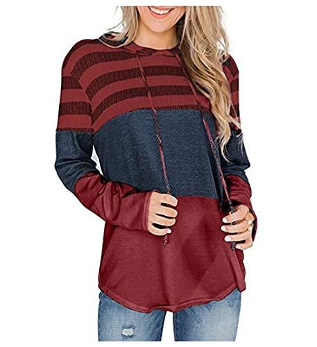 Sudadera con capucha para mujer con capucha y bloque de color a rayas con cordón de manga larga, Vino Tinto, L