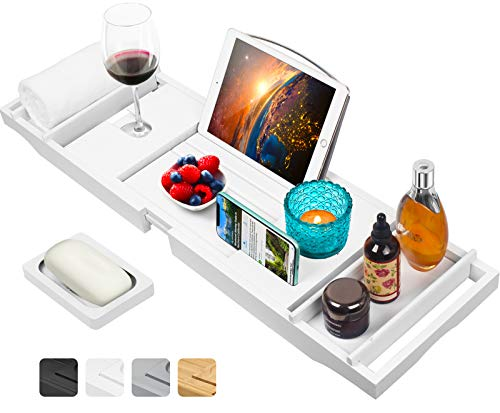 Artmalle Luxury Bamboo Bathtub Caddy Tray with Book and Wine Holder,Bath Accessories & Bed Tray with Extending Sides,Bathroom Organizer for...