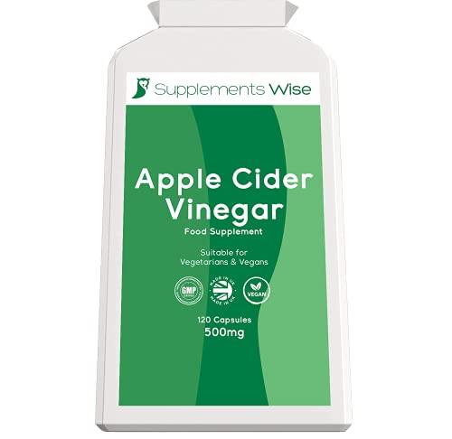 Apple Cider Vinegar Capsules - 120 x 500mg - High Strength ACV - Candida,...
