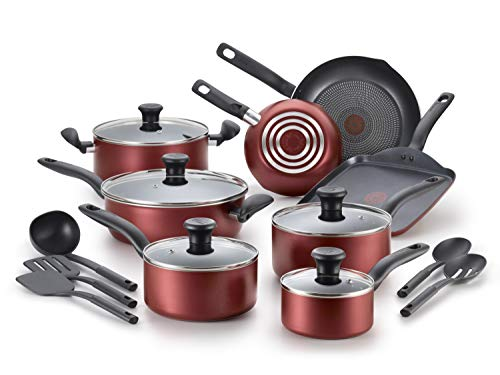 T-Fal Initiatives 18 Piece Non-stick Dishwasher Safe Cookware Set, Red