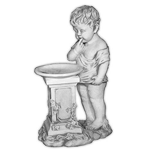 Gartendekoparadies.de massieve stenen figuur jongen met schaal van gegoten steen, vorstbestendig