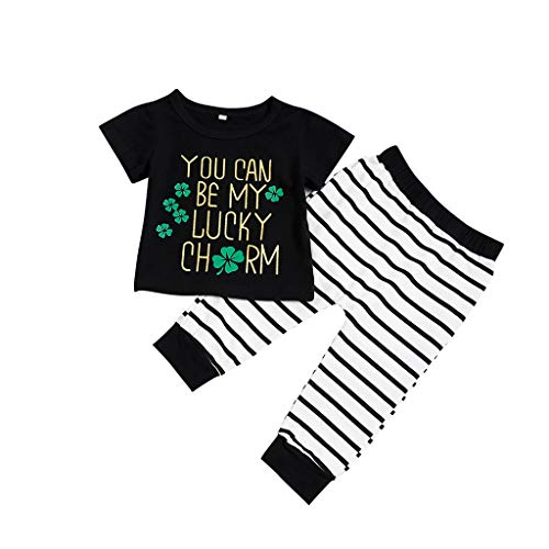 Voberry- St Patricks Day,You Can BE My Lucky Costume Enfant,Top imprimé Lettre Trèfle + Pantalon rayé (0-24M)