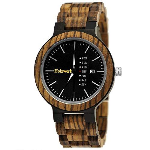Holzwerk Germany Matrix - Reloj de hombre de madera natural, con diseño de cebra, analógico, de cuarzo, con fecha y día de la semana