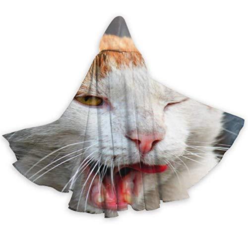 N\A Freches Haustier Nette Katze Halloween Mit Kapuze Mantel Beiläufiger Mit Kapuze Mantel 59inch Für Weihnachten Halloween Cosplay Kostüme