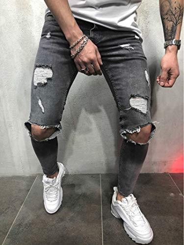WQZYY&ASDCD Jeans Vaqueros Pantalon Moda Streetwear Jeans para Hombres Vintage Azul Gris Color Skinny...