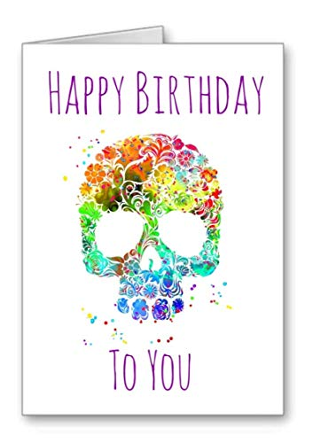 Skull Goth Day of The Dead Happy Birthday Card Flower Garland Watercolour Effect (Envelope Included)