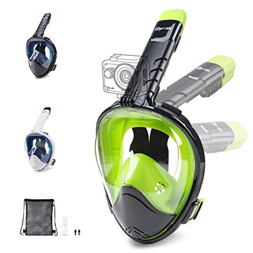 Glymnis Máscara de Buceo 180° Máscara Snorkel Anti-Fuga Gafas Cara Completa con Agente Antivaho Apoyo Camara Deportiva (Negro y Verde, L/XL)