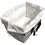 エコバッグスタイル レジかご 折りたたみタイプ 保冷はっ水素材 形状記憶エコバッグ 34L ビッグサイズ (ストライプブラック (巾着白))