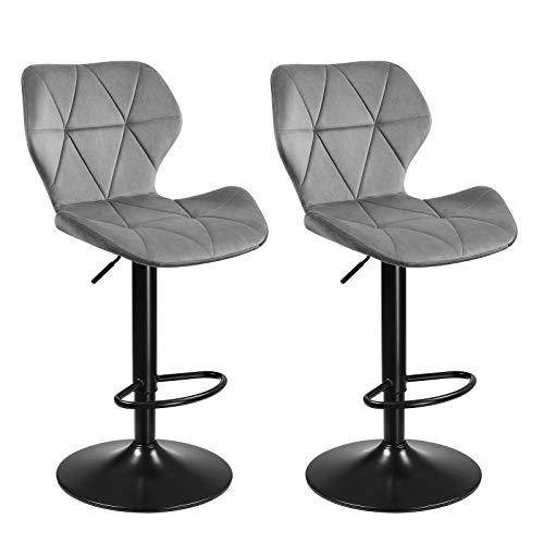 SONGMICS Barhocker, 2er Set Barstühle, Küchenstühle mit stabilem Metallgestell, Stühle mit Samtbezug, Fußstütze, Sitzhöhe verstellbar, einfache Montage, Retro, hellgrau LJB071G02