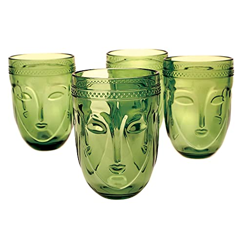Art & Artifact Buddha Drinking Glasses - Set of 4 Green Textured Face Beverage Tumblers, Cups