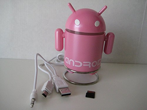 Android Robot Style USB Rechargeable FM/MP3 Player w/ Stereo Speaker, Micro SD & TF Card input, 3.5mm headphone; Color : Pink With 4GB TF Flash Memory Card