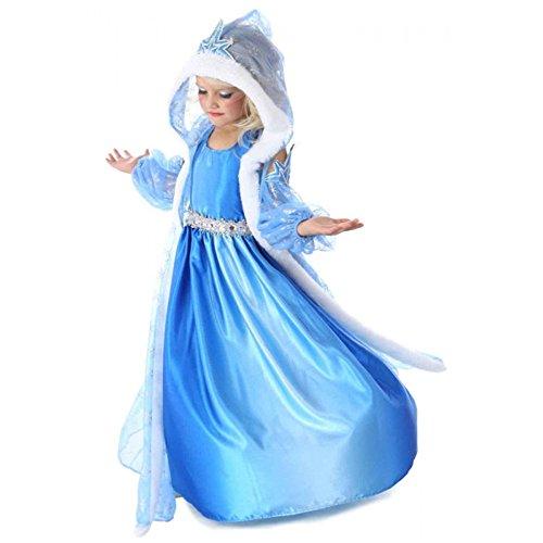 NNDOLL Elsa Vestito Bambina Costumi Carnevale Principessa Azzurro Abito(140/5-6 Anni)