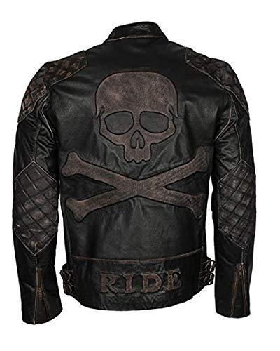 Shop House Skull and Bones Jacke für Männer aus echtem Leder (XXS-5XL) Biker-Jacke, Lederjacke, Punisher Jacke Herren, Biker-Jacke Herren (L (Befolgen Sie die Größentabelle))
