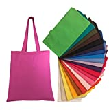 Natural Cotton Canvas Tote Bags Bulk Plain Fabric for Crafts, DIY, Vinyl, Decorate, Shopping, Groceries, Teacher, Books, Gifts, Welcome Bag, Diaper Bag, Beach (Assorted Colors, 12)